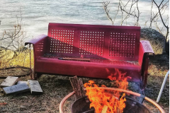 fire pit bench eagle winter